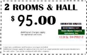 Carpet Cleaning Coupon 2 Rooms & Hall